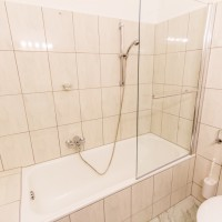 Bathroom, bath tub, shower, double room comfort